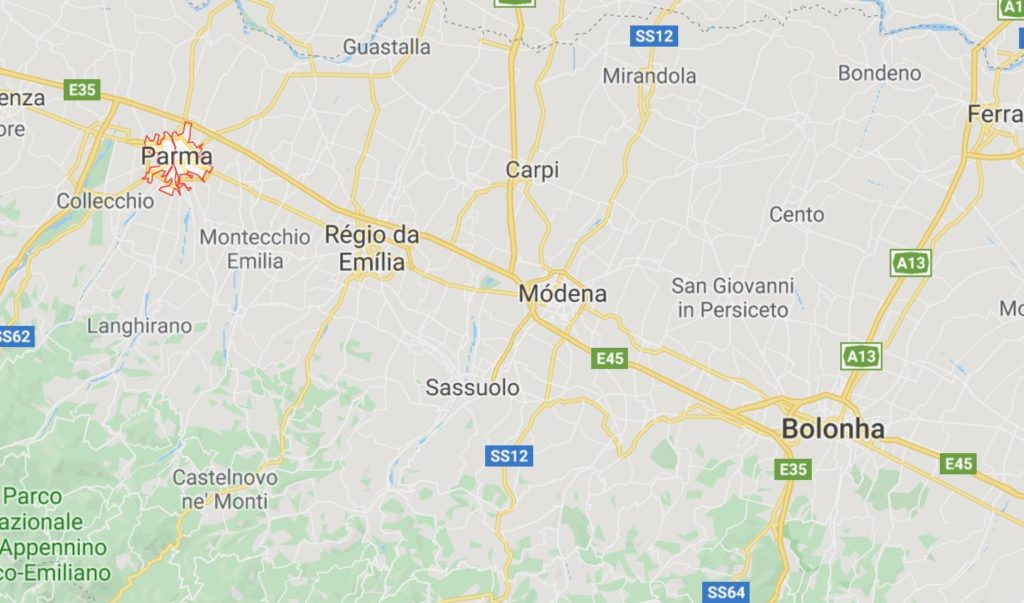 mapa de Parma na Itália