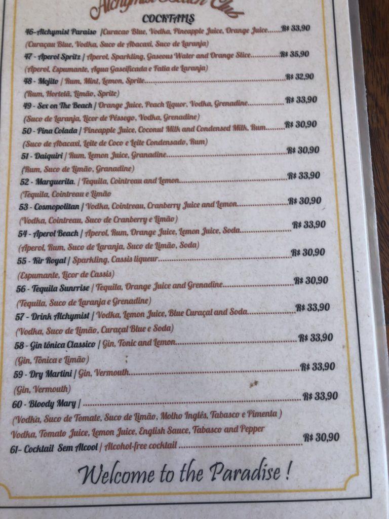 preços no menu do alquimiesta club jeriquaquara