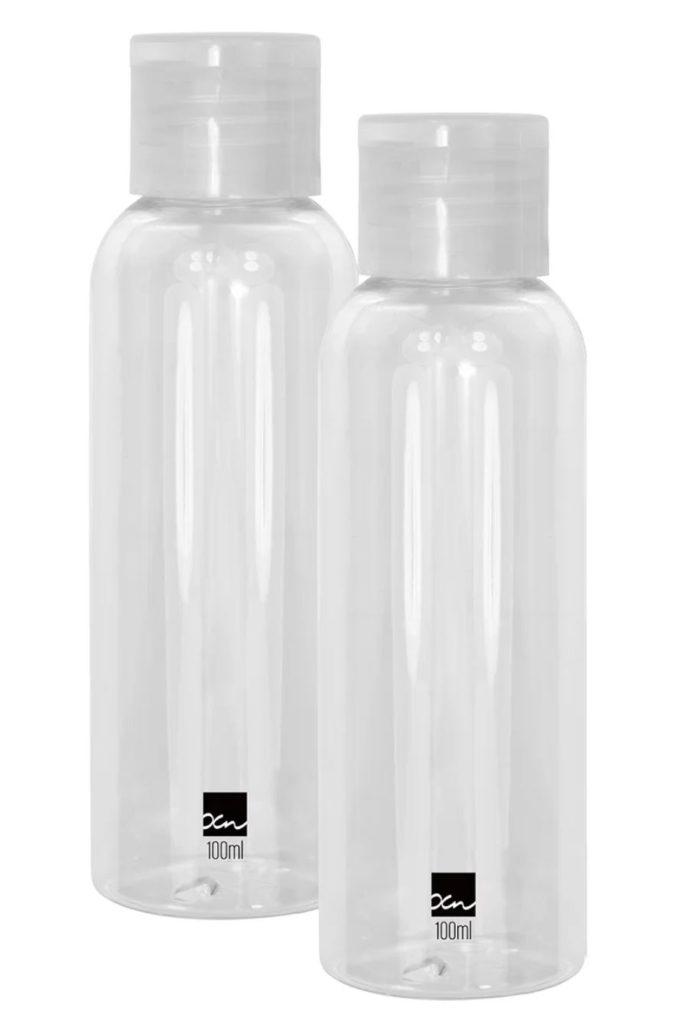 frascos 100 ml 696x1024 - 10 dicas para arrumar sua mala de mão de até 10 kg