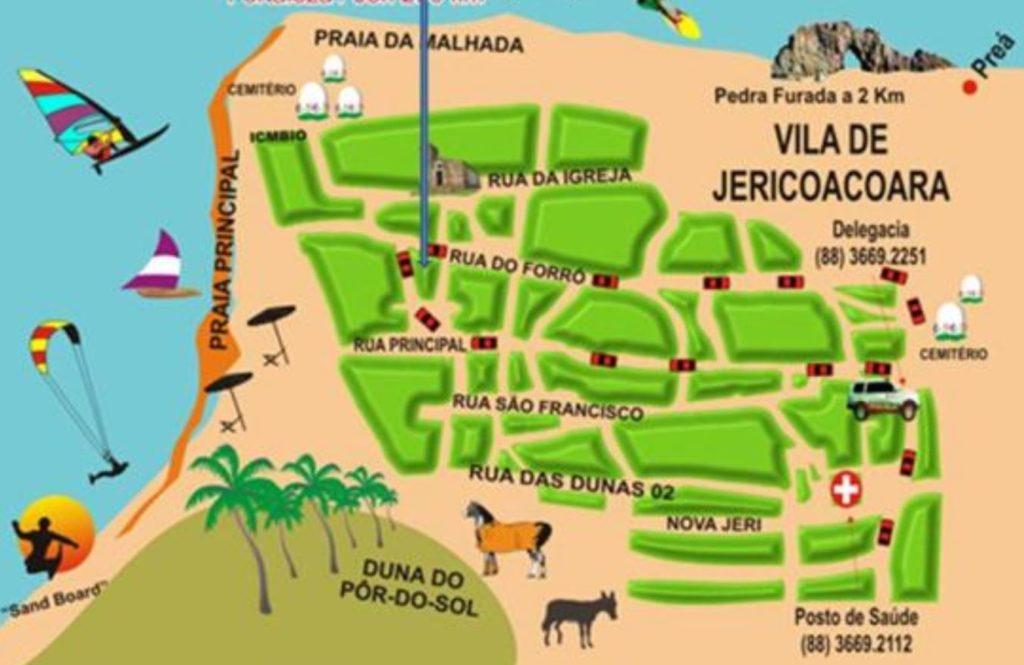mapa da praia de jeriquaquara