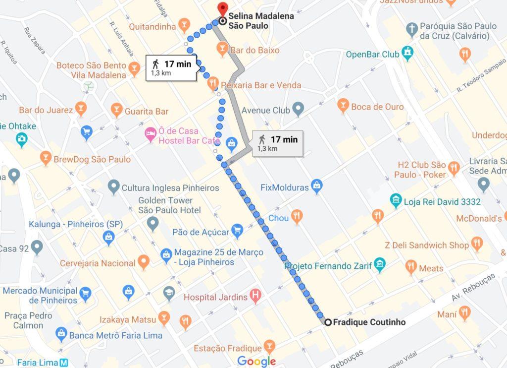 mapa selina madalena 1024x742 - Hotel e Hostel Selina Madalena - São Paulo