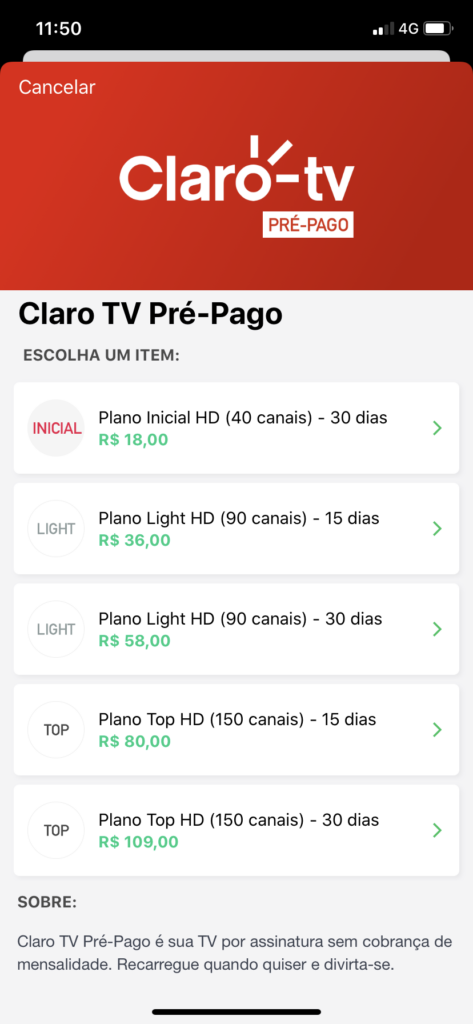 clarotv picpay 473x1024 - Cupom PicPay: R$10,00 + Cash Back + Milhas